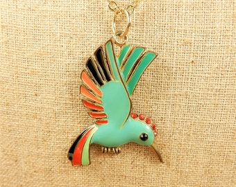 Bird of Paradise Necklace, Seconds Sale, Bird Necklace, Green Bird Pendant