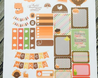 Kawaii Thanksgiving Weekly Planner Stickers Set, for use with Erin Condren Life Planner, Happy Planner