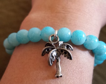 Beachy Palm Tree Stretchy Bracelet