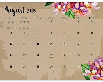 July 2018 - June 2019  Floral Mini Desk Pad Calendar