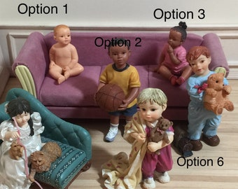 1:12 Scale Dollhouse Miniature Children Resin Figure (each sold seperately) - see details