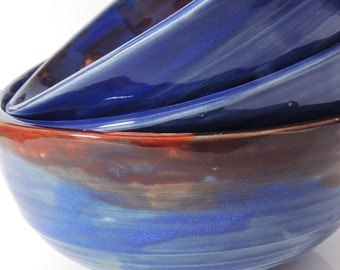 Porcelain Bowl Red and Blue Serving Bowl