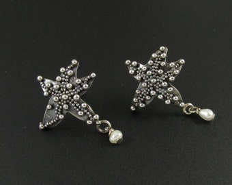 Sterling Silver Starfish Earrings, Granulated Earrings, Beach Earrings, Pearl Earrings, Sterling Silver Earrings, Star Earrings