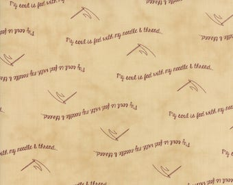 Moda - Needle & Thread Gatherings - My Soul is Fed Tan - Pie Crust  - Fabric by the Yard 1230-12
