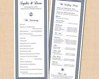 Nautical Wedding Programs, Navy Stripe, Anchor Monogram (4.25x11, Long): Text-Editable in Microsoft® Word, Printable Instant Download