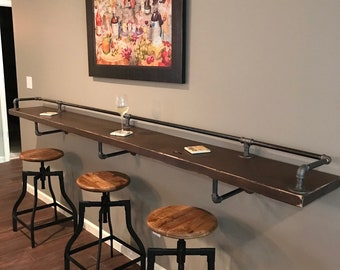 """Industrial Black Pipe Drink Rail With Shelf Support Brackets """"DIY"""" parts kit"""
