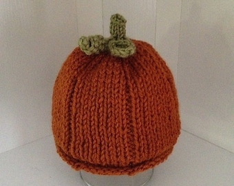 Perfect Little Pumpkin Hat - Hand-Knitted with Stem, Leaf and Curl - 1 Year