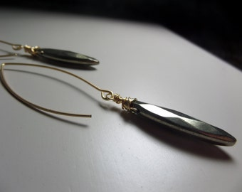 Pyrite and brass earrings.