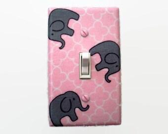 Elephant Light Switch Cover - Pink Grey Nursery Decor - Elephants Switch Plate - Pink Elephant Baby Room - Pink Grey Elephant Room