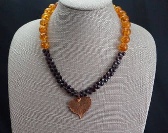 Copper Dipped Leaf with Garnet and Amber