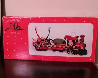 Vintage Christmas holiday train Toothbrush Holder Soap Lotion Dispenser Santa Claus