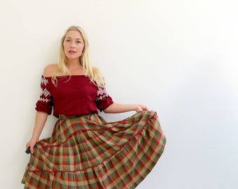 1970s Autumn Twirl Skirt /// Size Extra Small to Small
