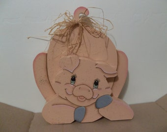 Tole painted wooden PIG with Raffia  Bow on his tail