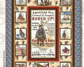 """Handmade quilt for sale - Cowboy quilt using Rodeo Up fabric by Tana Mueller for Blank Quilting - 65""""x85"""" throw size - quilting cotton"""