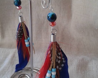"""Indian style"" blue earrings"