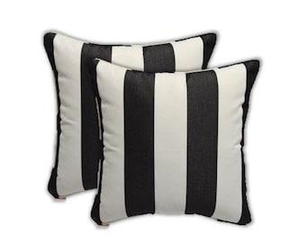 Set of 2 - Decorative Square Throw Pillows Black & White Stripe Indoor/Outdoor