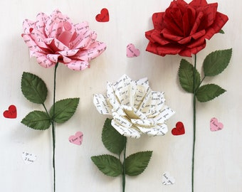 Paper Rose Gift | 1st Paper Anniversary, Wedding or Romantic Gift for Her 'I Love You'