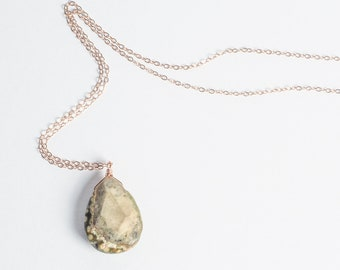Rose gold necklace, Long Rose gold Jasper pendant necklace, semiprecious, rosegold