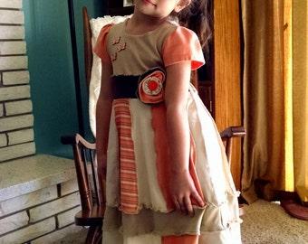 Snickerdoodle, Dessert Dresses, Boutique, Boho, T Shirt knit, Jersey, katwise inspired elf dress, Children's Dress Size 6/7