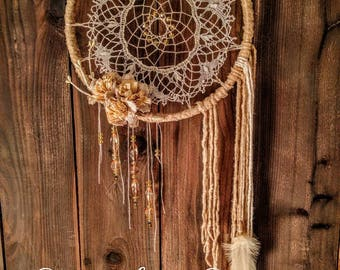 American Honey Dreamcatcher wall hanging - with hand crocheted lace doily and crystal accents.