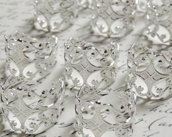 25 Silver filigree ring bases adjustable, lead free, cadmium free