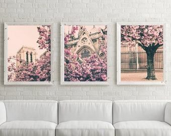 Paris photography, extra large wall art, Paris wall art, gallery wall set, Cherry blossom art, wall art canvas art pink wall art Paris decor