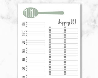 Weekly Meal Planner & Grocery List Printable, Meal Prep, Weekly Menu Planner, Shopping List, Instant download, Recipe and Meal Prep