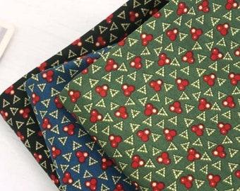 Triangle cherry / 100% Cotton Fabric / cherries green blue black triangles / quilting / Ykfabrics JC1/65-