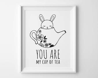 You are my cup of tea print, Scandinavian modern art, kids poster, bunny print, cute print kids decor, kids typography art modern home decor