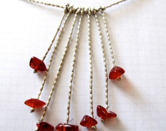 Silver red necklace