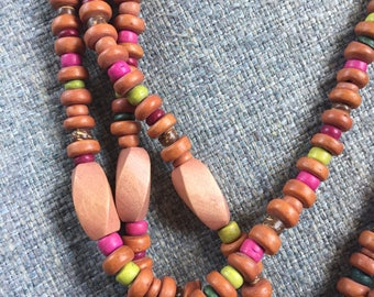 Multicolored Bohemian Wood Bead Necklace / Vintage Necklace / Multi-Strand Necklace / Layered Necklace / Statement Necklace