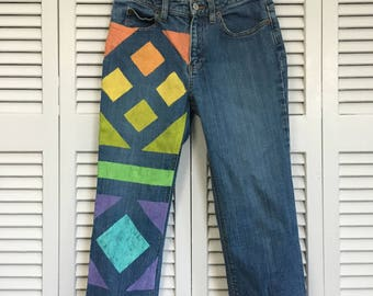 Upcycled hippie-style Capri jeans!