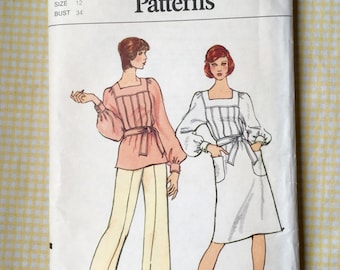 Vintage Vogue Uncut Sewing Pattern 8457 Misses' Dress, Tunic and Pants - 1970s - Size 12