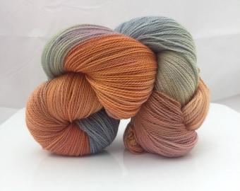 Hand Painted Lace Weight Yarn /  Super Wash Merino wool / Two Can Tango' Colourway Knitting Yarn Shawl Yarn