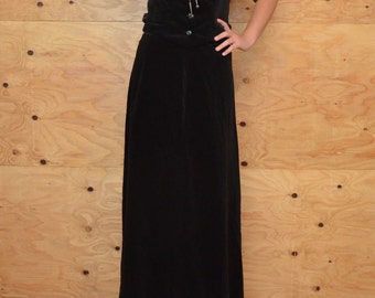 Vintage 60's Suit Black Brushed Velvet with Matching Maxi Skirt & Green Blouse SZ Medium