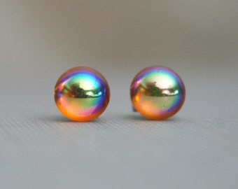Amber - Vintage Reset Swarovski - 7mm - Color Shifting - Stainless Steel Stud Earrings