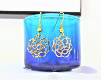 FLOWER EARRINGS - gold plate surgical stainless steel ear wires - hypoallergenic, sensitive ears earring wires