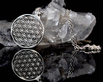 Flower of life necklace, Sterling Silver Pendant, Sacred geometry, mens jewelry, womens jewelry