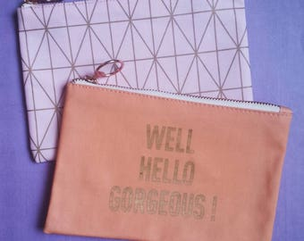 Pencil case with rose gold hardware