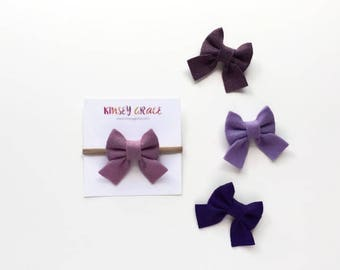 Sailor Bows, Baby Headband, Newborn Headband, Baby Girl, Felt Bow, Nylon Headband, Schoolgirl Bows, Baby Hair Bows, Girls Headbands, Hairbow