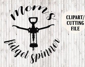 mom's fidget spinner svg, mom life svg, mom svg, wine svg, corkscrew svg, cut file, vinyl decal svg file, wine clipart, wine sign stencil