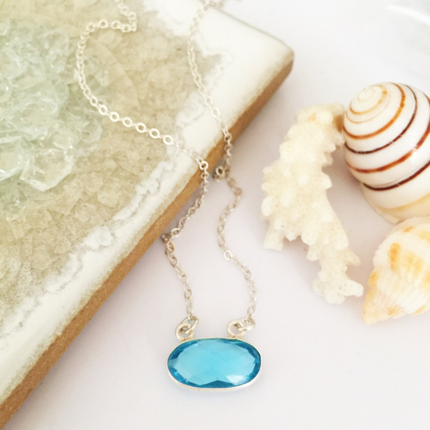 Blue topaz pendant sterling silver boho layering necklace for All washed up jewelry