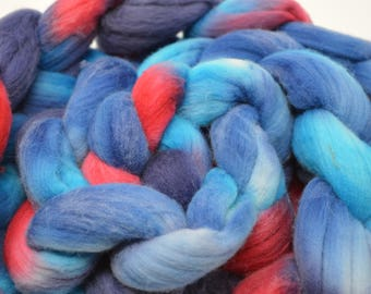 hand dyed roving, hand dyed, Merino Roving, handdyed roving top, felting fiber, spinning fiber, merino top, Clutch