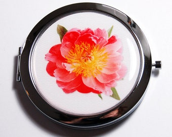 Flower compact mirror, compact mirror, Flower, mirror, gift for her, mirror for purse, pink, floral compact mirror, floral (2710)