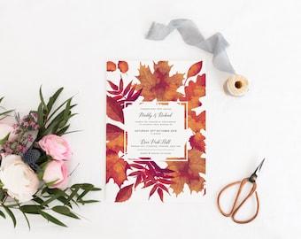 Autumn Wedding Invitation, Fall Wedding Invitation, Autumn Leaves Wedding Invitation, Fall Invitation, Autumn Invite, Burnt Oak Collection