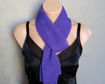 Purple Scarf, Violet Scarf, Sheer Chiffon Scarf, Skinny Scarf Purple, Sheer Purple Scarf, Purple Skinny Scarf, Purple Chiffon Scarf