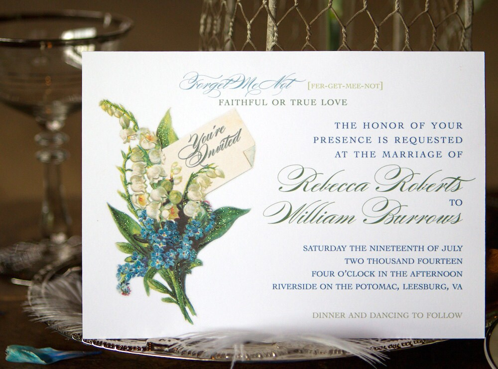 Vintage Wedding Invitations with Lily of the Valley and Forget