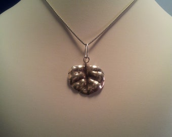 Sterling Silver Textured Leaf Pendant Necklace