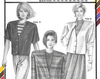 Stretch & Sew 1093 Women's 90s Faced Cardigans Sewing Pattern Bust 30 to 46