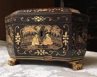 Antique Chinese Export Lacquer Tea Caddy Black Box w/ Gold Scenes & Claw Feet